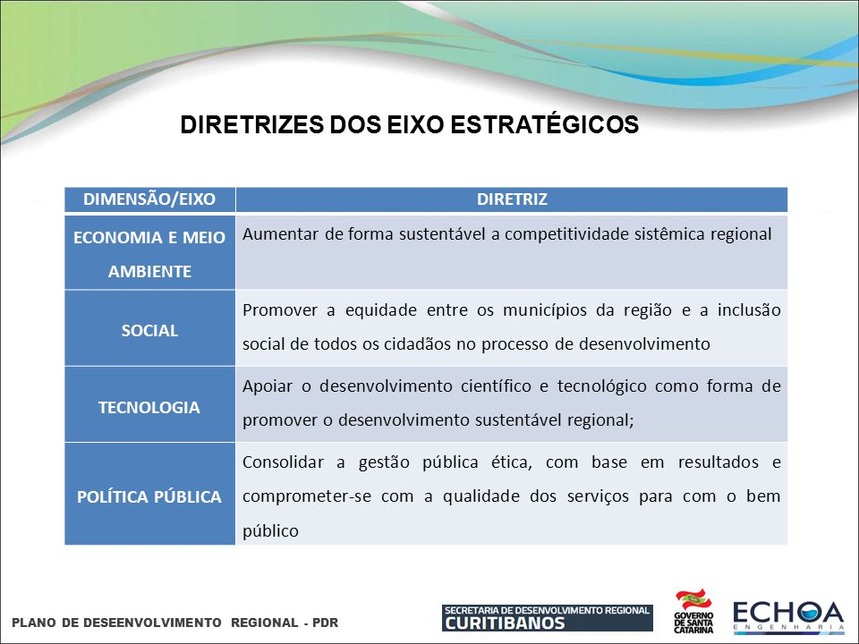 DIRETRIZES DOS EIXO ESTRATÉGICOS ECONOMIA E MEIO AMBIENTE