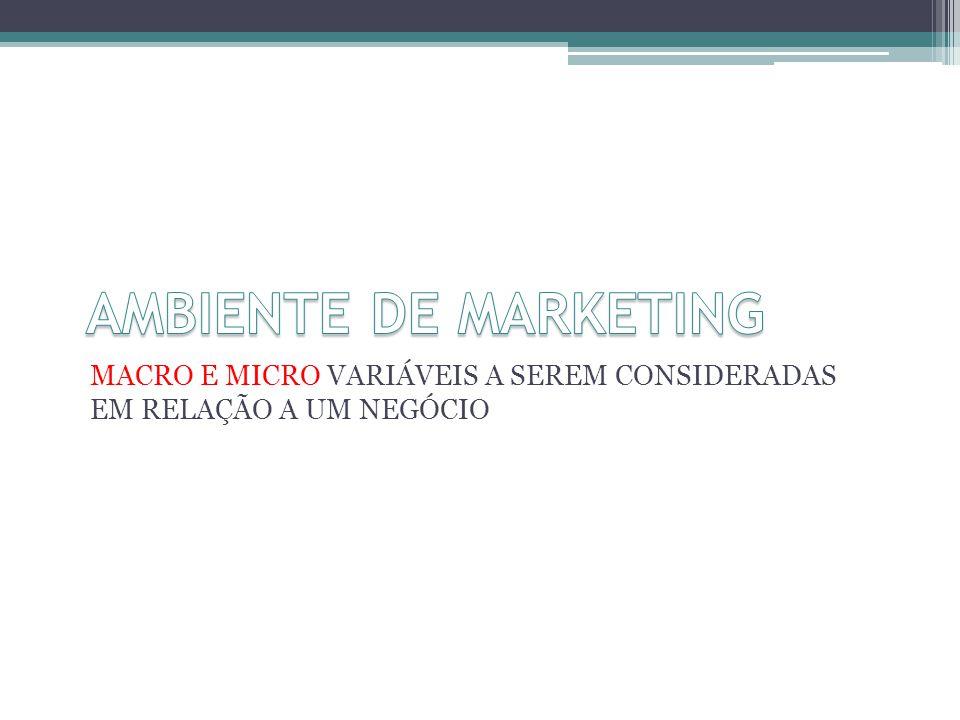 AMBIENTE DE MARKETING MACRO E MICRO VARIÁVEIS A SEREM CONSIDERADAS EM RELAÇÃO A UM NEGÓCIO