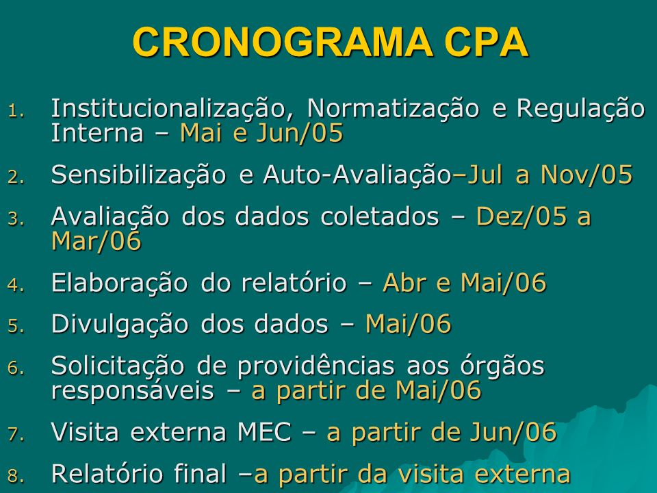 CRONOGRAMA CPAInstitucionalização, Normatização e Regulação Interna – Mai e Jun/05. Sensibilização e Auto-Avaliação–Jul a Nov/05.