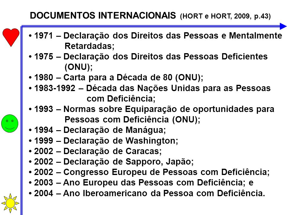 DOCUMENTOS INTERNACIONAIS (HORT e HORT, 2009, p.43)