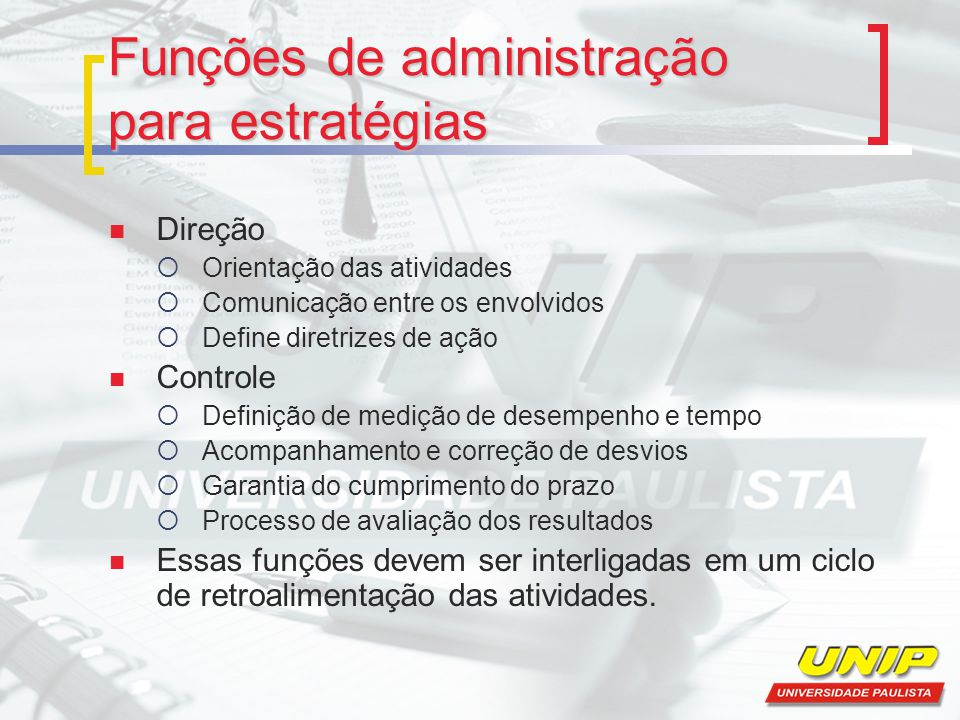 Funções de administração para estratégias