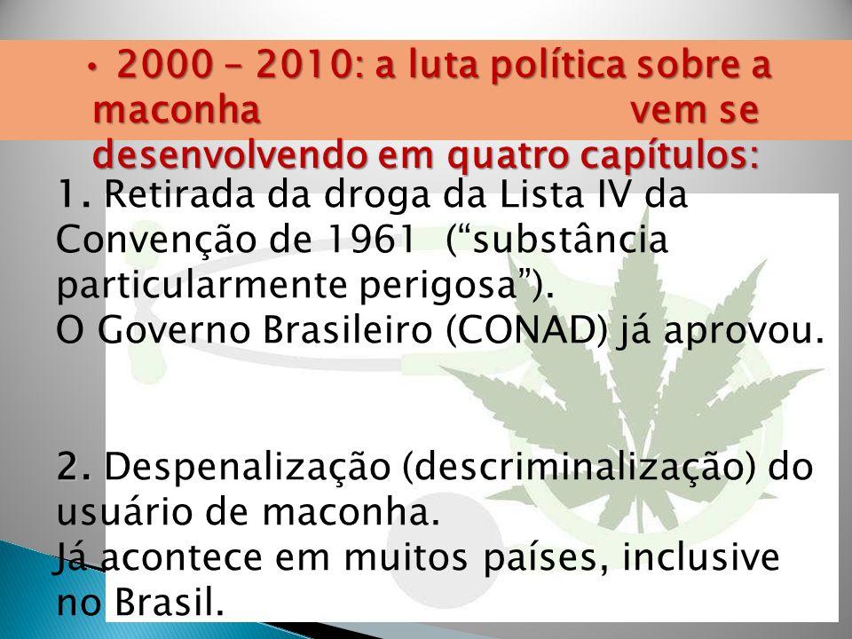 • 2000 – 2010: a luta política sobre a maconha vem se desenvolvendo em quatro capítulos: