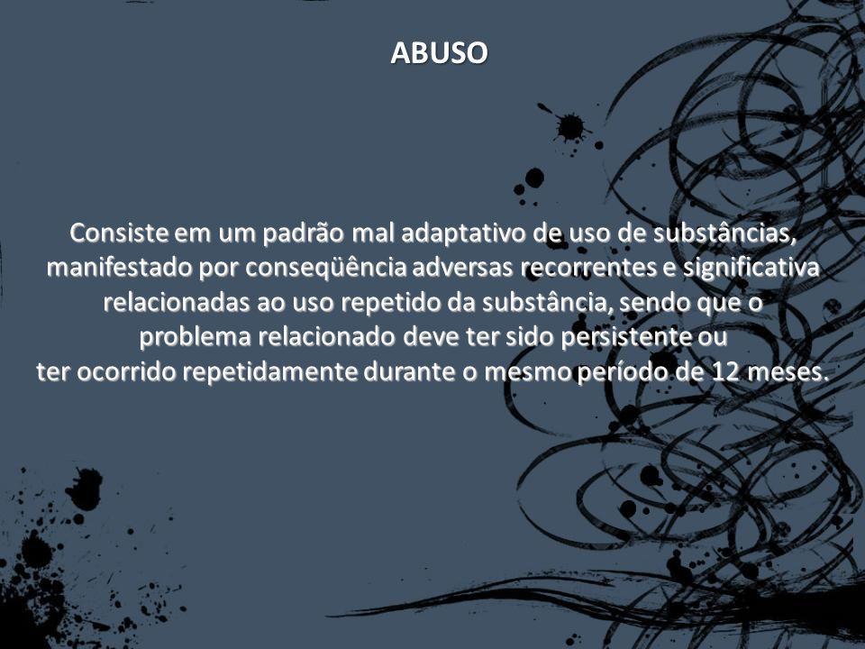 ABUSO Consiste em um padrão mal adaptativo de uso de substâncias,
