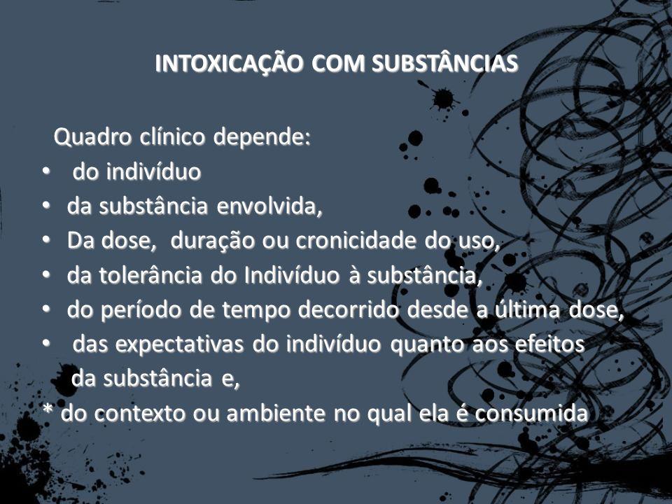 INTOXICAÇÃO COM SUBSTÂNCIAS