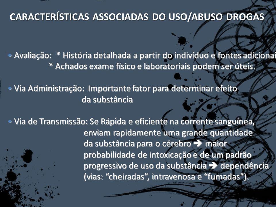 CARACTERÍSTICAS ASSOCIADAS DO USO/ABUSO DROGAS