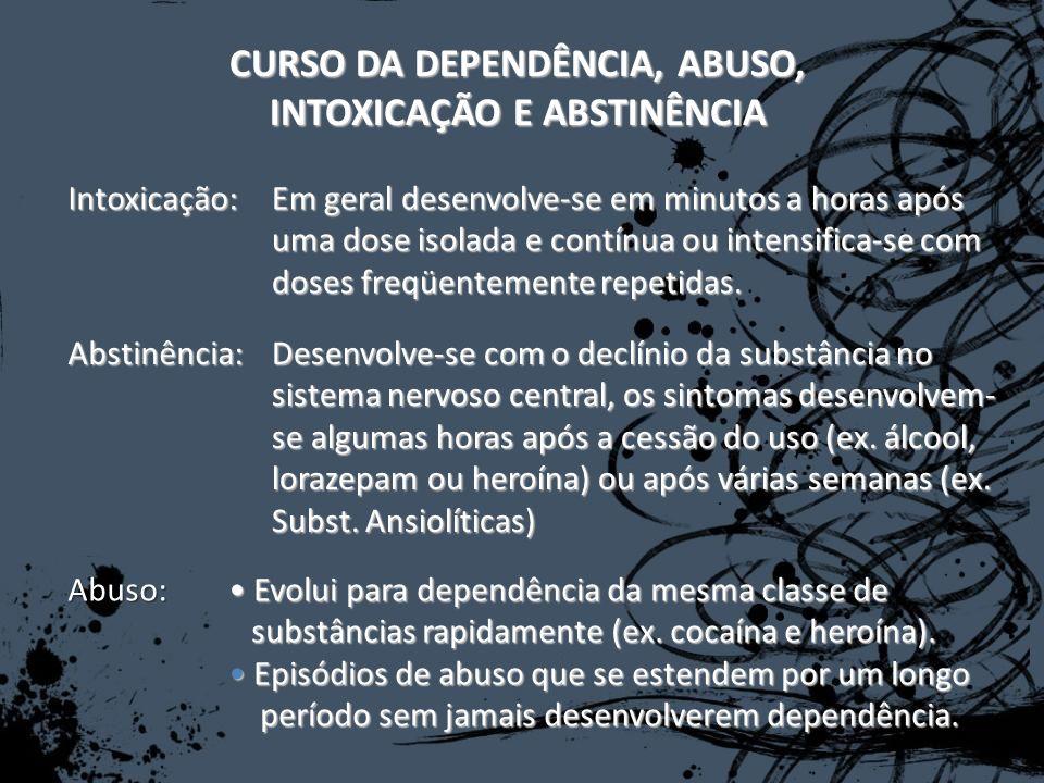CURSO DA DEPENDÊNCIA, ABUSO, INTOXICAÇÃO E ABSTINÊNCIA