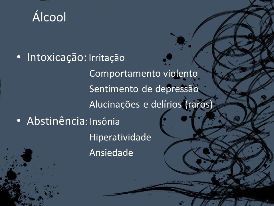 Álcool Intoxicação: Irritação Abstinência: Insônia