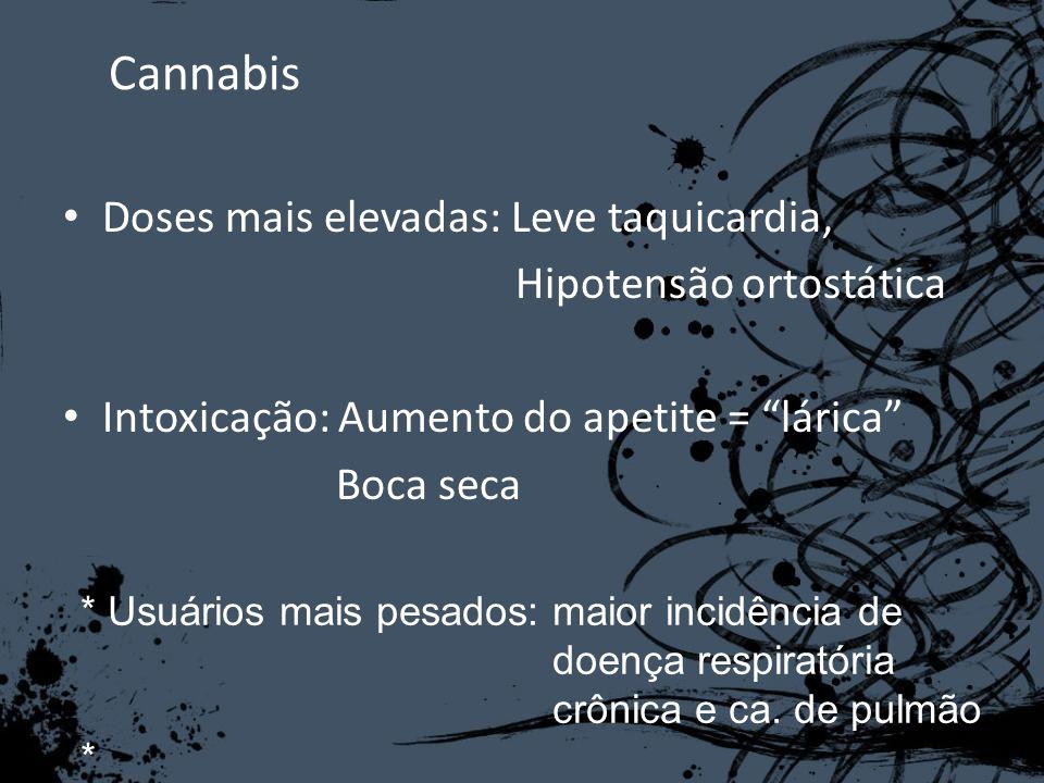 Cannabis Doses mais elevadas: Leve taquicardia, Hipotensão ortostática