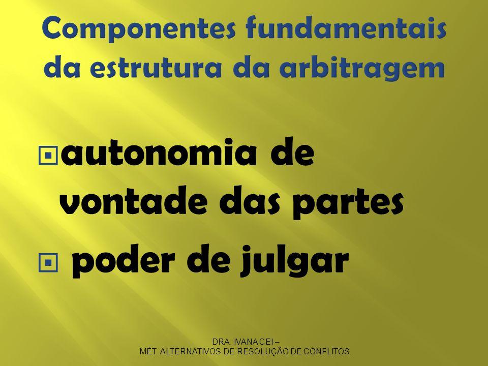 Componentes fundamentais da estrutura da arbitragem