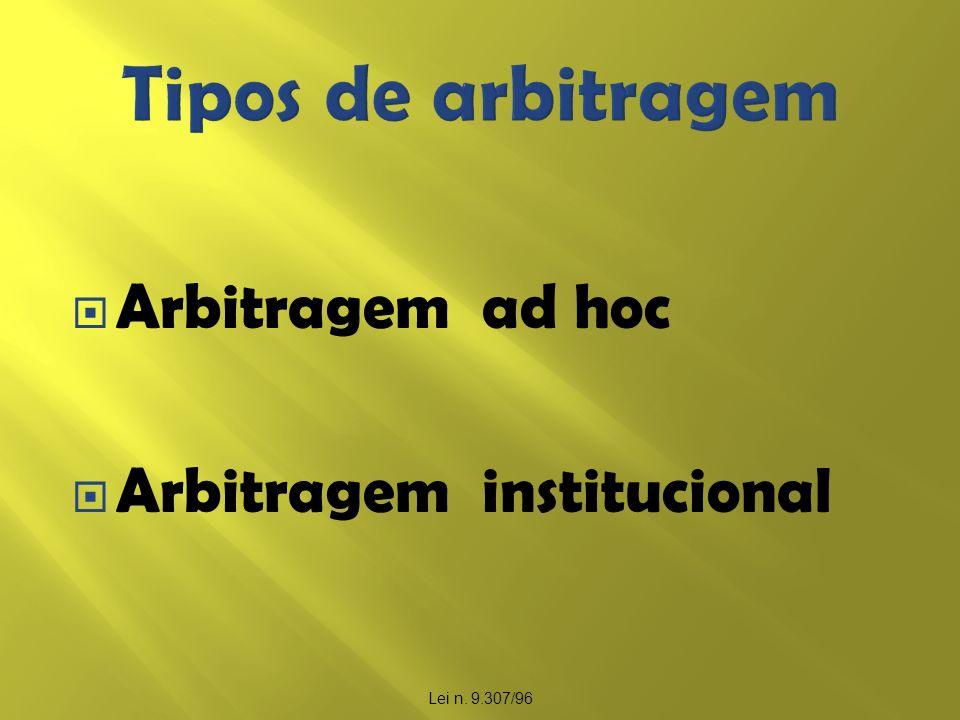 Tipos de arbitragem Arbitragem ad hoc Arbitragem institucional