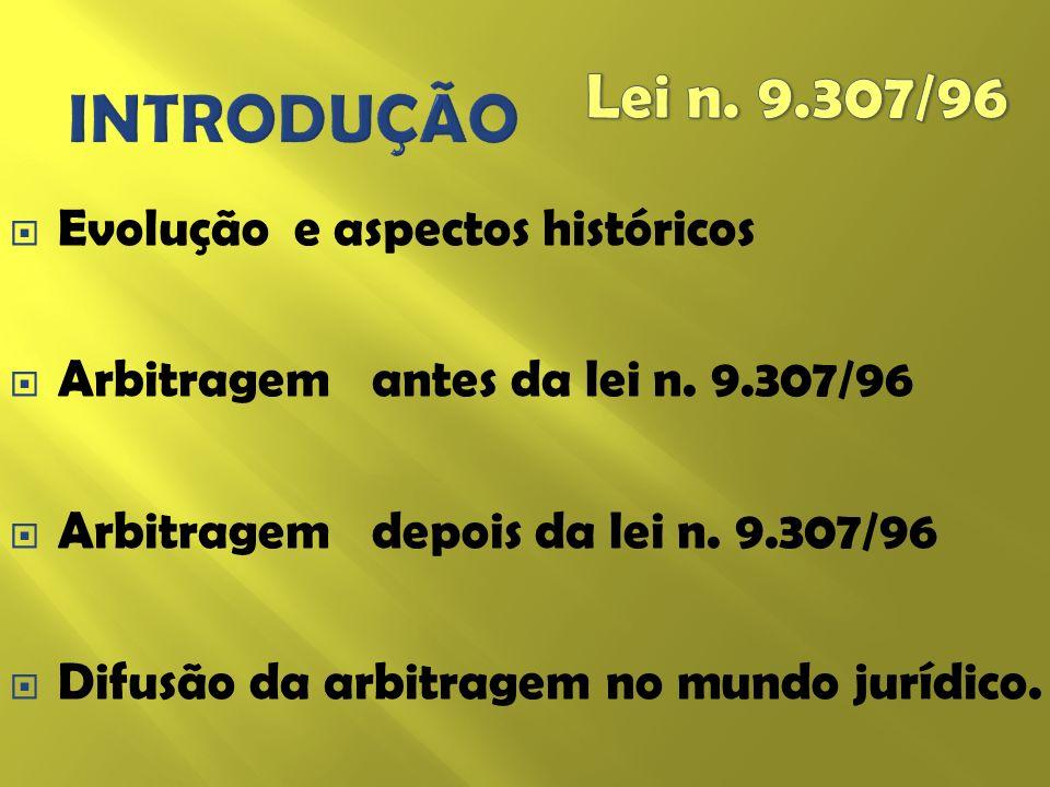 INTRODUÇÃO Lei n. 9.307/96 Evolução e aspectos históricos