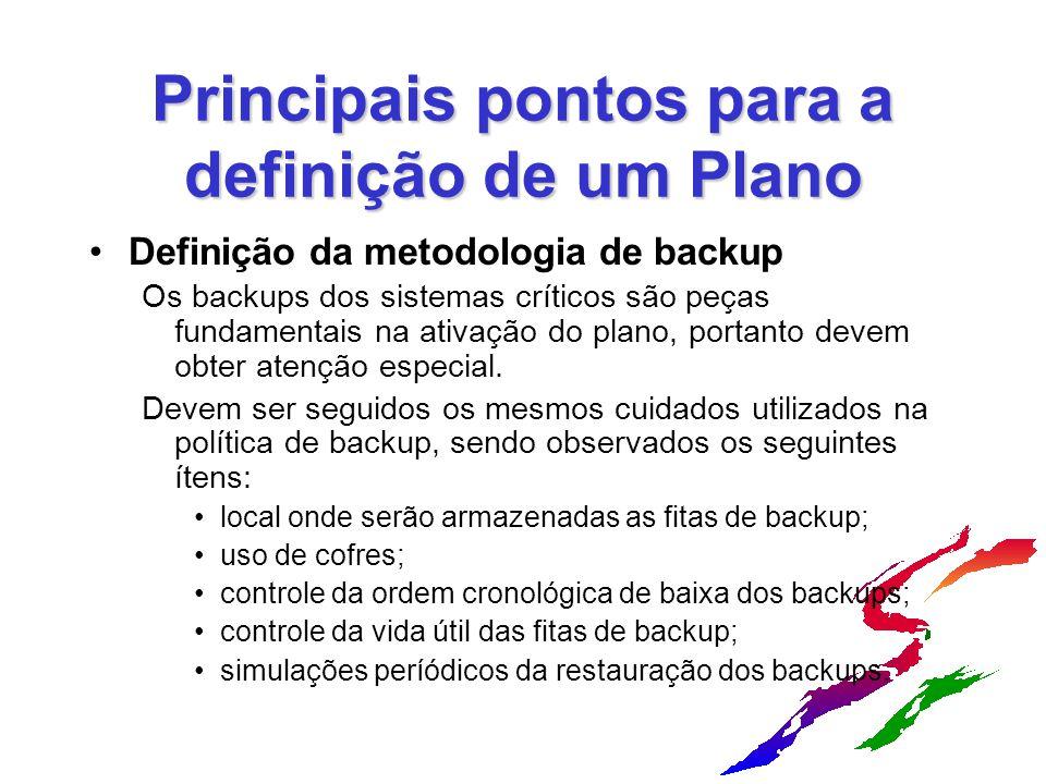 Principais pontos para a definição de um Plano