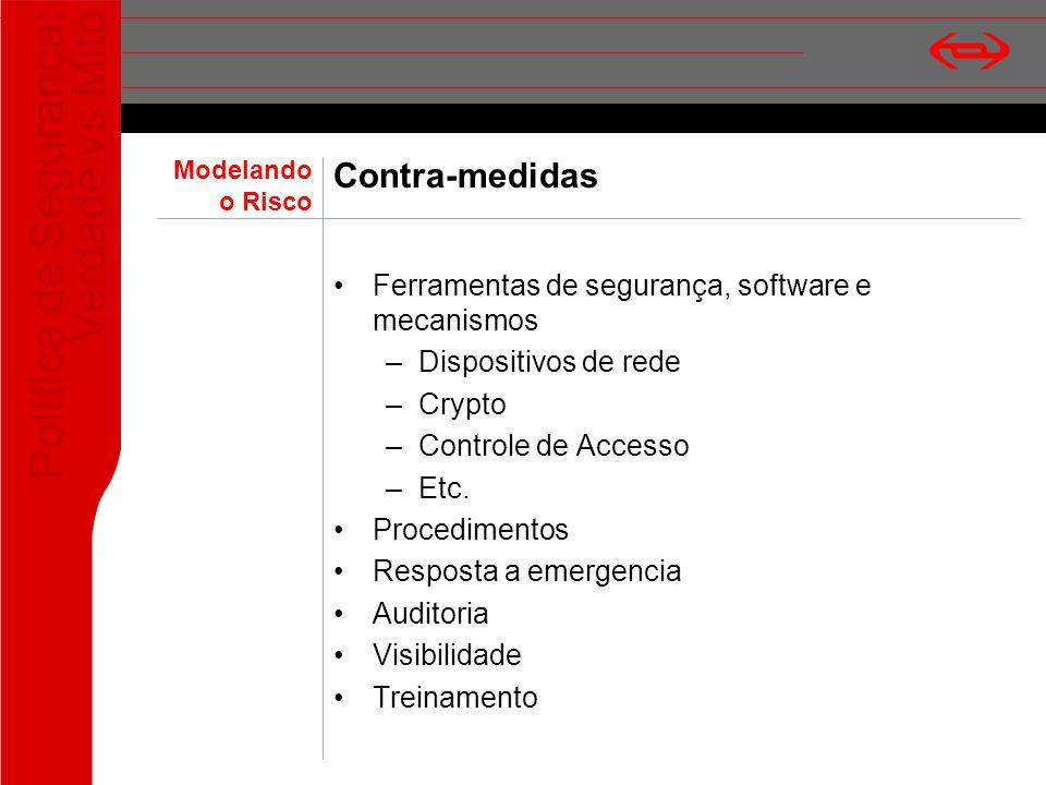 Contra-medidas Ferramentas de segurança, software e mecanismos