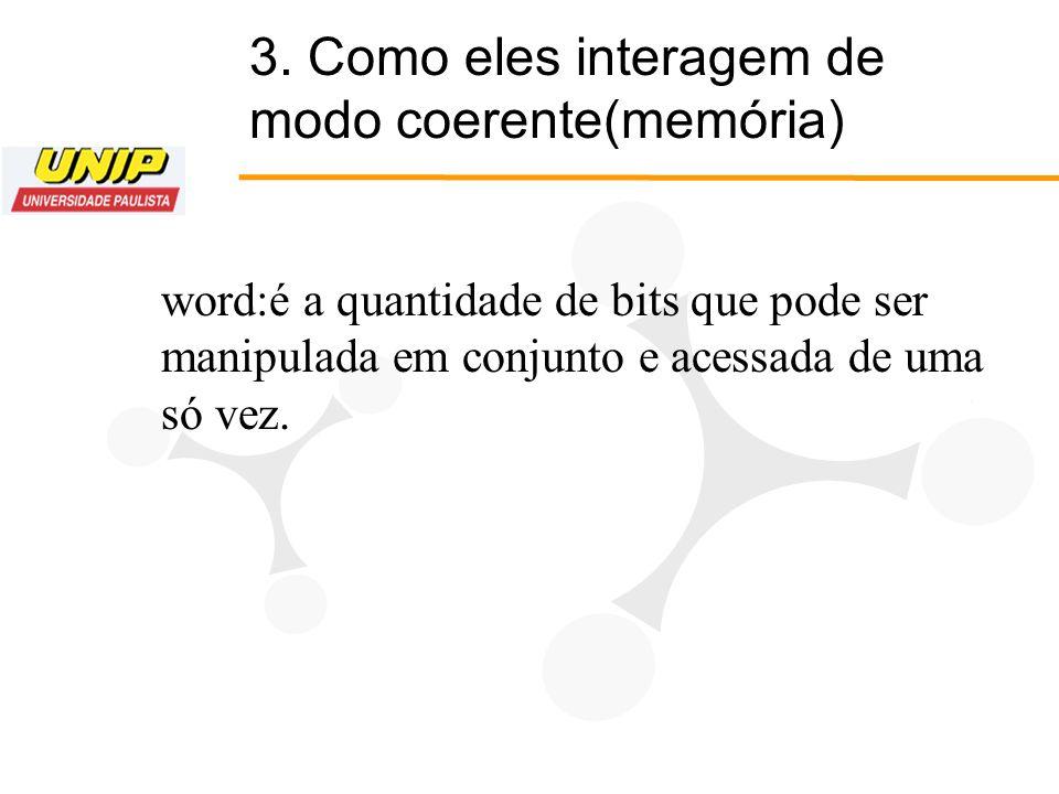 3. Como eles interagem de modo coerente(memória)