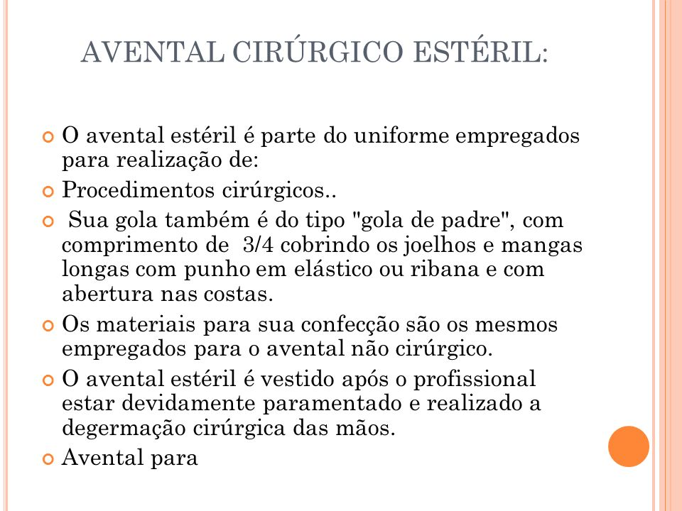 AVENTAL CIRÚRGICO ESTÉRIL: