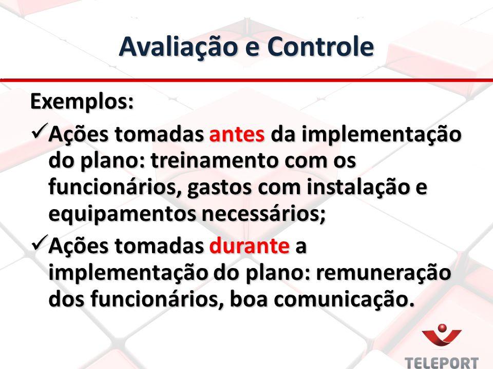 Avaliação e Controle Exemplos: