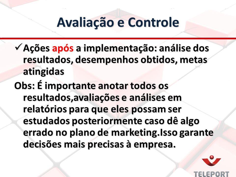 Avaliação e Controle Ações após a implementação: análise dos resultados, desempenhos obtidos, metas atingidas.