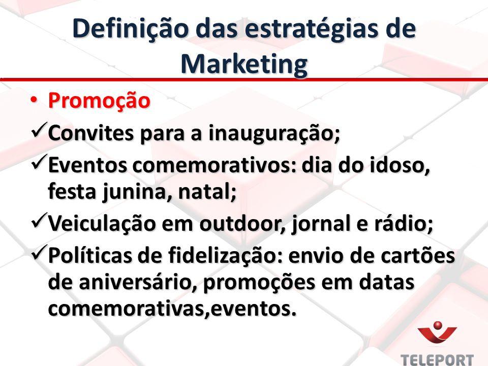Definição das estratégias de Marketing