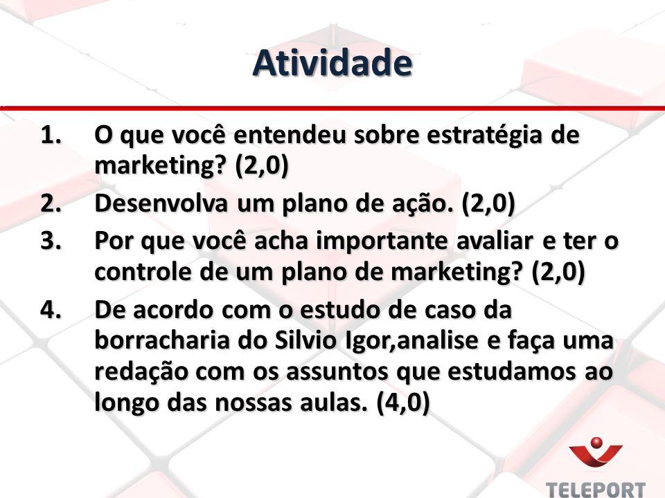 Atividade O que você entendeu sobre estratégia de marketing (2,0)