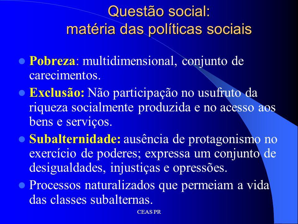 Questão social: matéria das políticas sociais