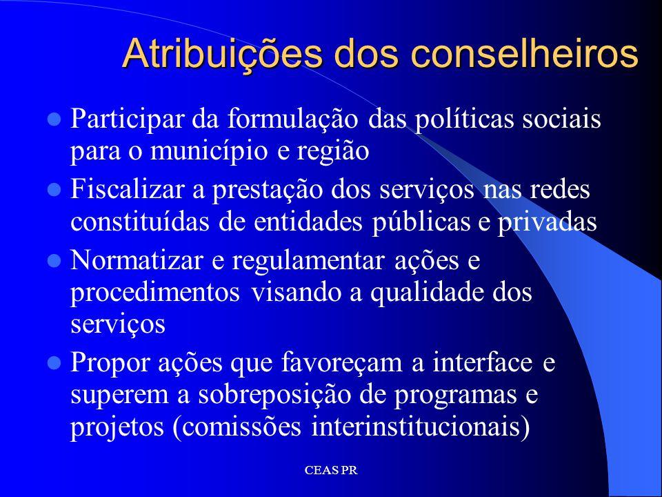 Atribuições dos conselheiros
