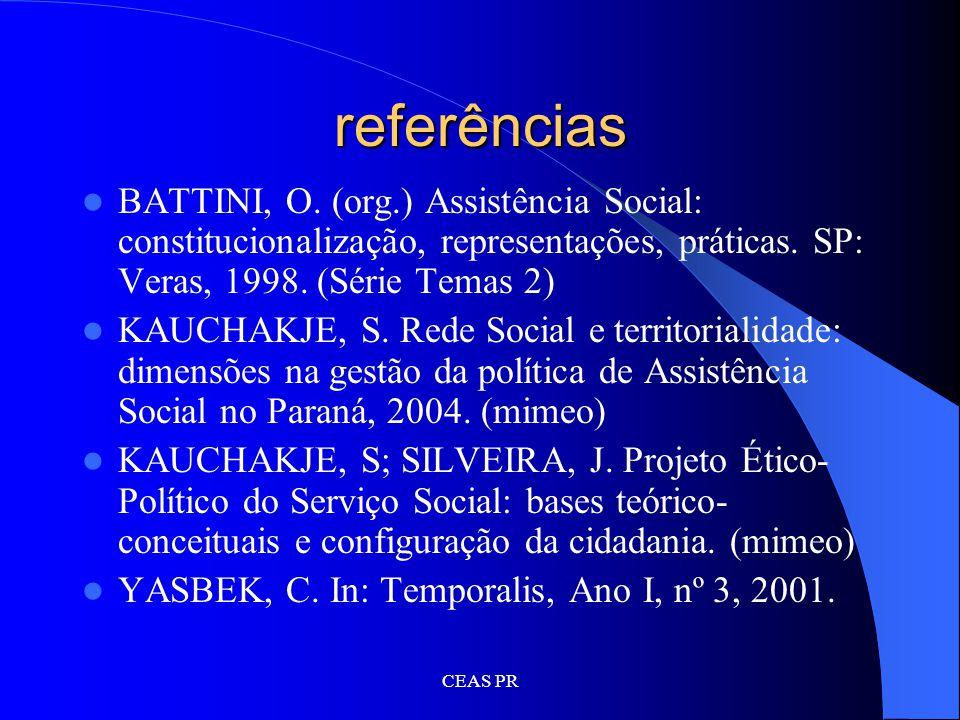 referências BATTINI, O. (org.) Assistência Social: constitucionalização, representações, práticas. SP: Veras, 1998. (Série Temas 2)