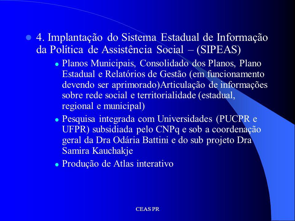 4. Implantação do Sistema Estadual de Informação da Política de Assistência Social – (SIPEAS)