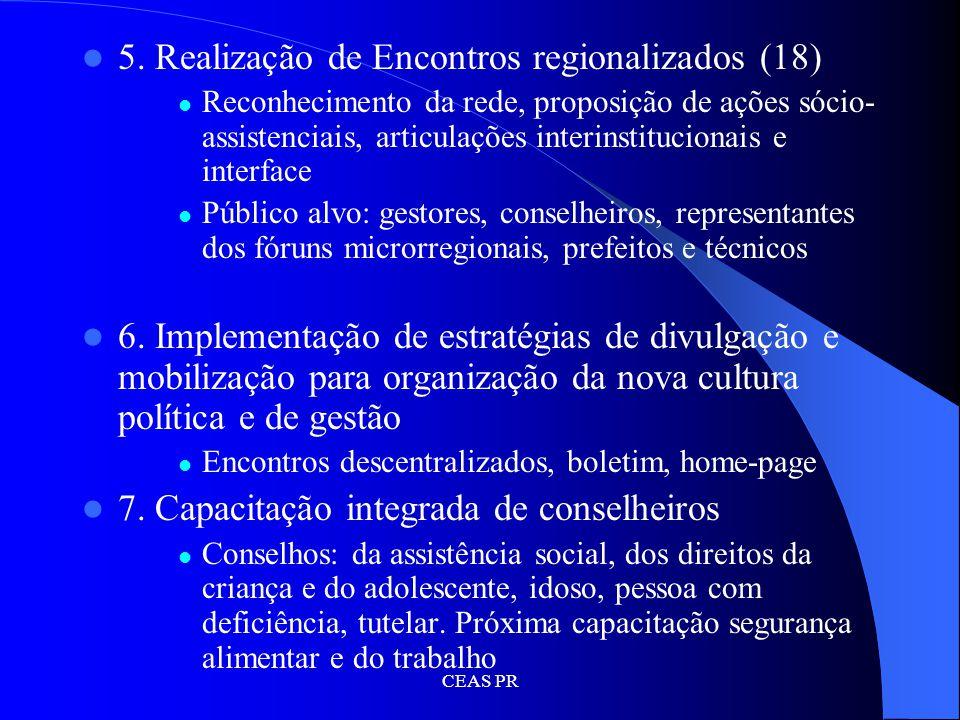 5. Realização de Encontros regionalizados (18)