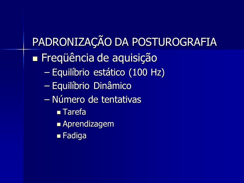 PADRONIZAÇÃO DA POSTUROGRAFIA Freqüência de aquisição
