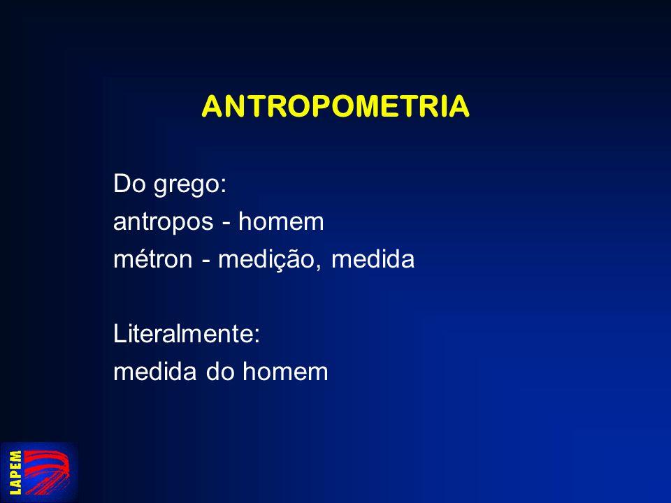 ANTROPOMETRIA Do grego: antropos - homem métron - medição, medida