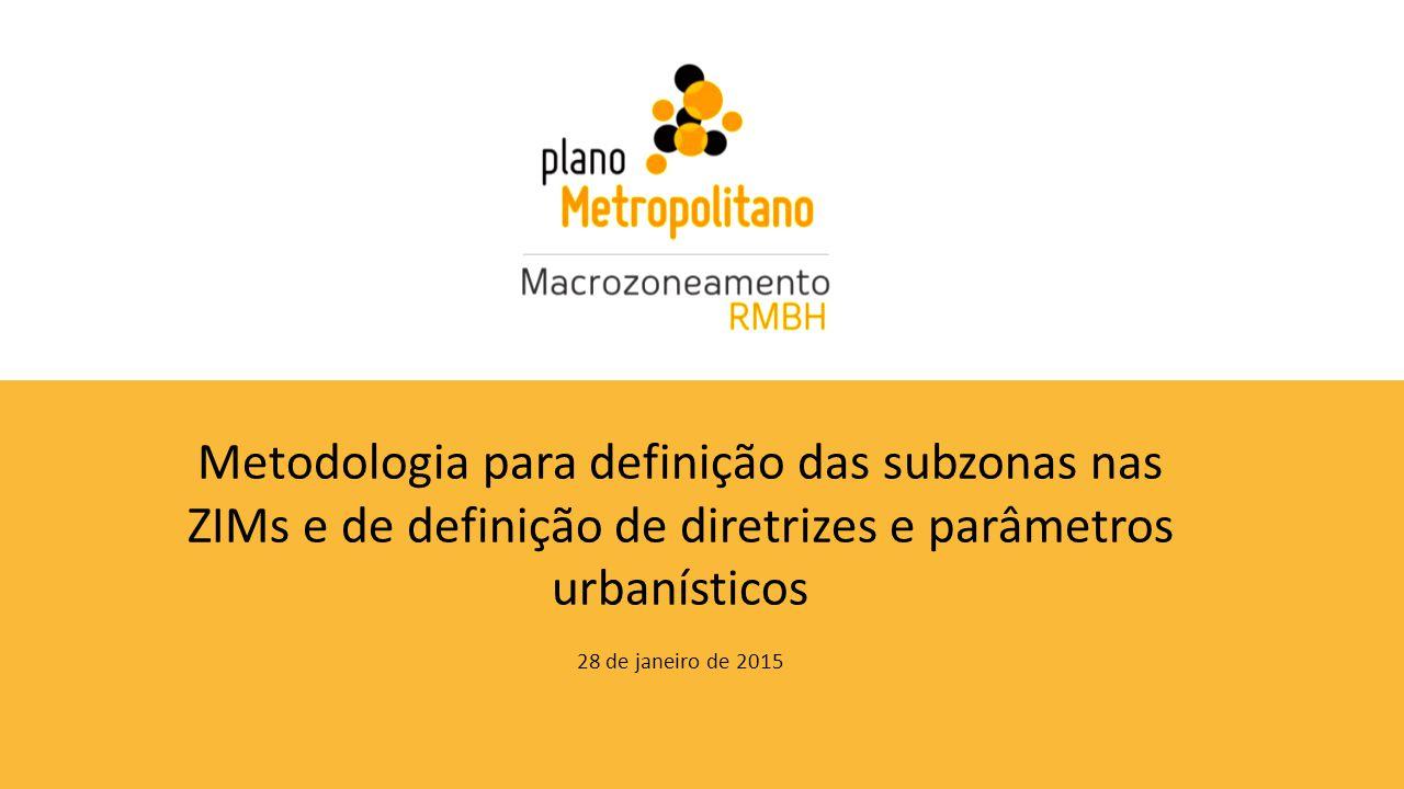 Metodologia para definição das subzonas nas ZIMs e de definição de diretrizes e parâmetros urbanísticos