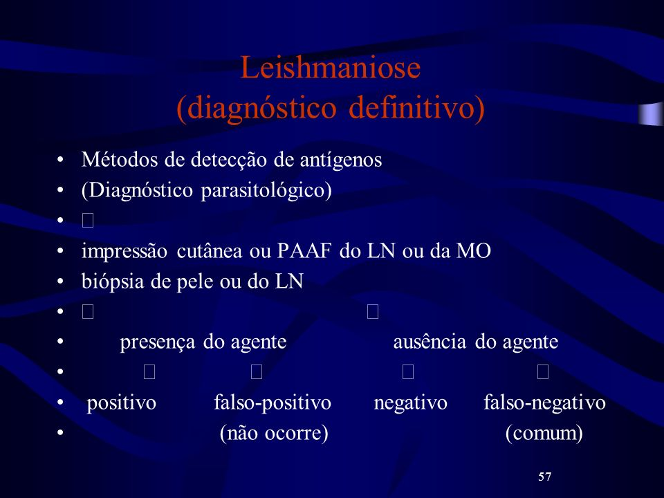Leishmaniose (diagnóstico definitivo)