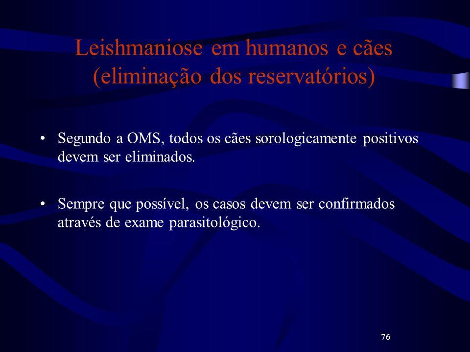 Leishmaniose em humanos e cães (eliminação dos reservatórios)