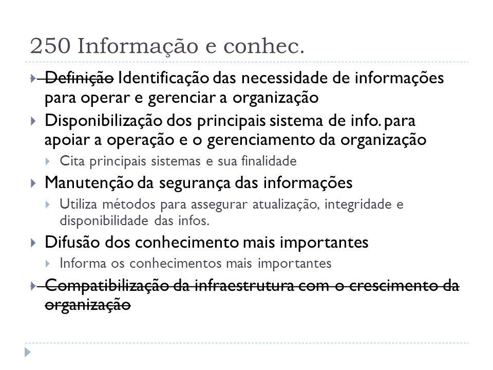 250 Informação e conhec. Definição Identificação das necessidade de informações para operar e gerenciar a organização.