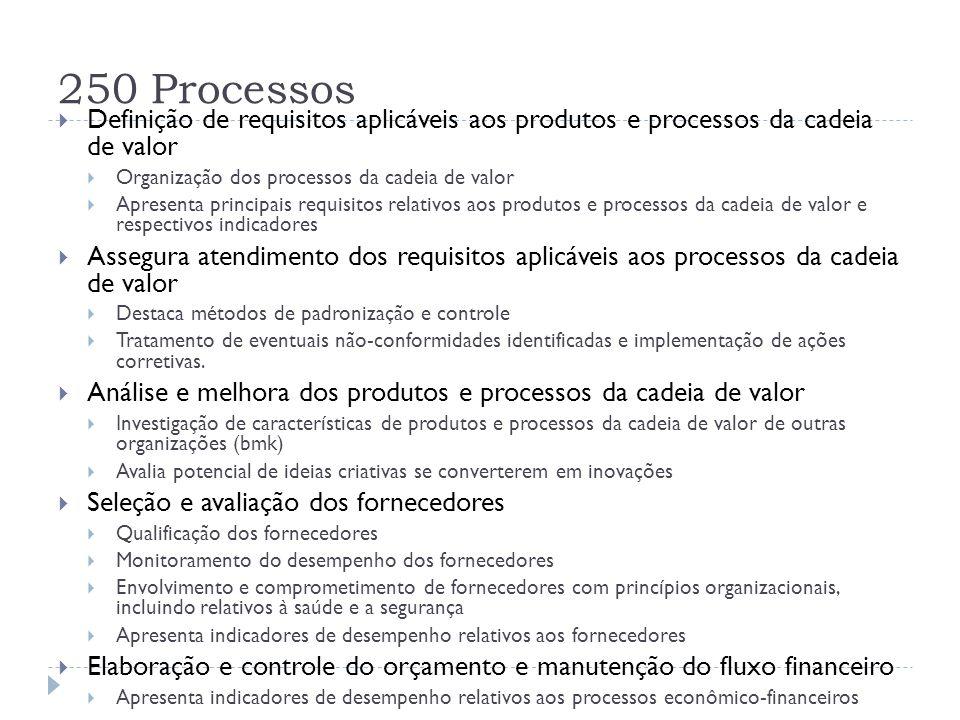 250 Processos Definição de requisitos aplicáveis aos produtos e processos da cadeia de valor. Organização dos processos da cadeia de valor.