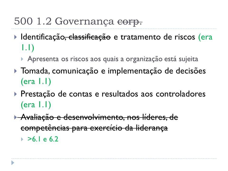 500 1.2 Governança corp. Identificação, classificação e tratamento de riscos (era 1.1) Apresenta os riscos aos quais a organização está sujeita.