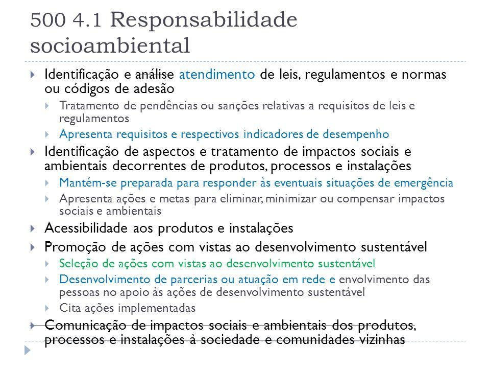 500 4.1 Responsabilidade socioambiental