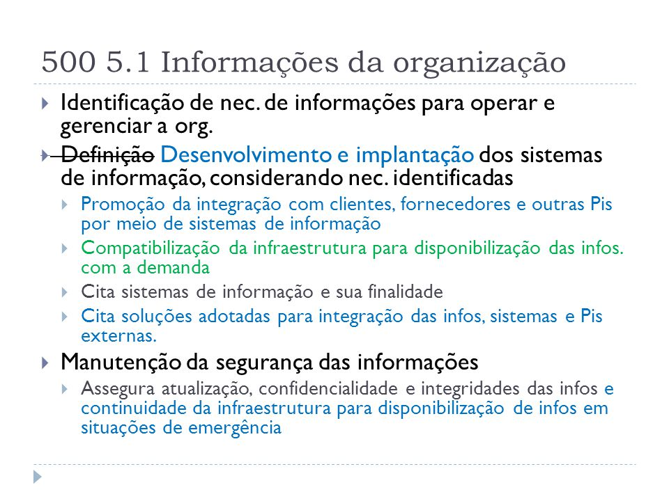 500 5.1 Informações da organização