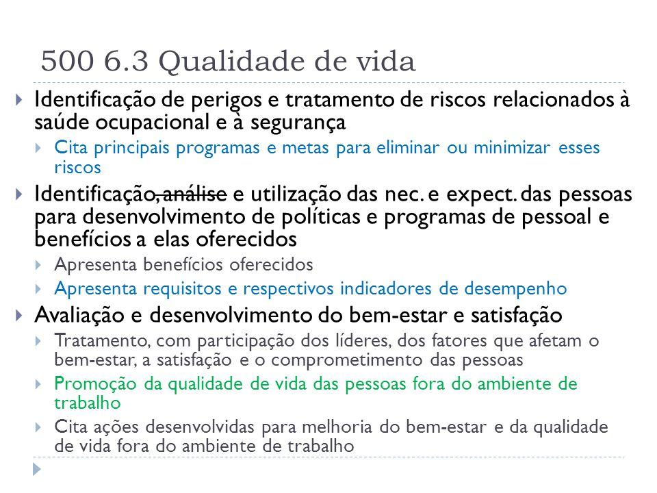 500 6.3 Qualidade de vida Identificação de perigos e tratamento de riscos relacionados à saúde ocupacional e à segurança.