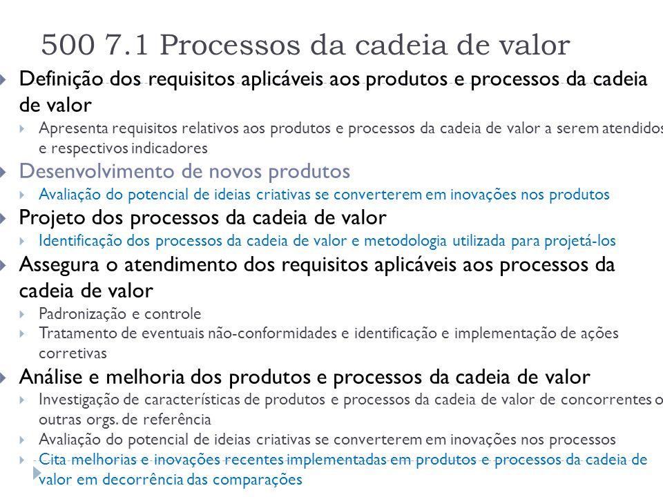 500 7.1 Processos da cadeia de valor