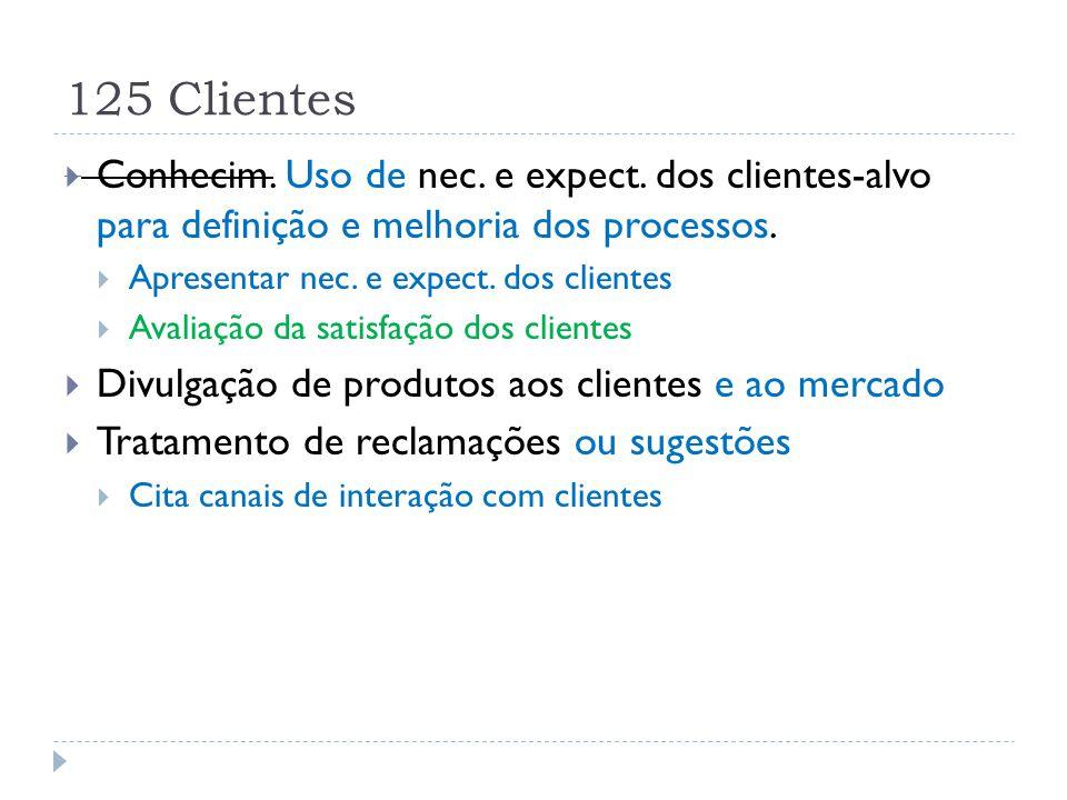 125 Clientes Conhecim. Uso de nec. e expect. dos clientes-alvo para definição e melhoria dos processos.