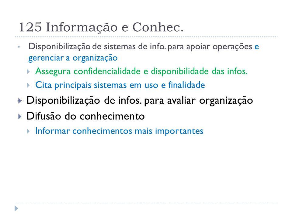 125 Informação e Conhec. Disponibilização de sistemas de info. para apoiar operações e gerenciar a organização.