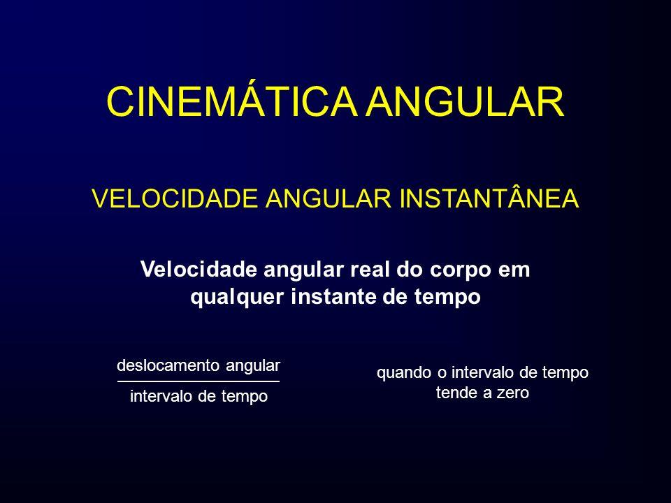 Velocidade angular real do corpo em qualquer instante de tempo