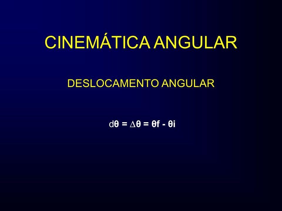 CINEMÁTICA ANGULAR DESLOCAMENTO ANGULAR dθ = θ = θf - θi