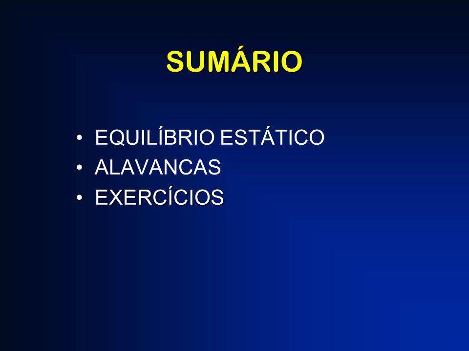 SUMÁRIO EQUILÍBRIO ESTÁTICO ALAVANCAS EXERCÍCIOS