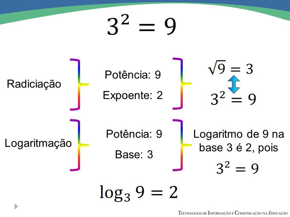 Logaritmo de 9 na base 3 é 2, pois