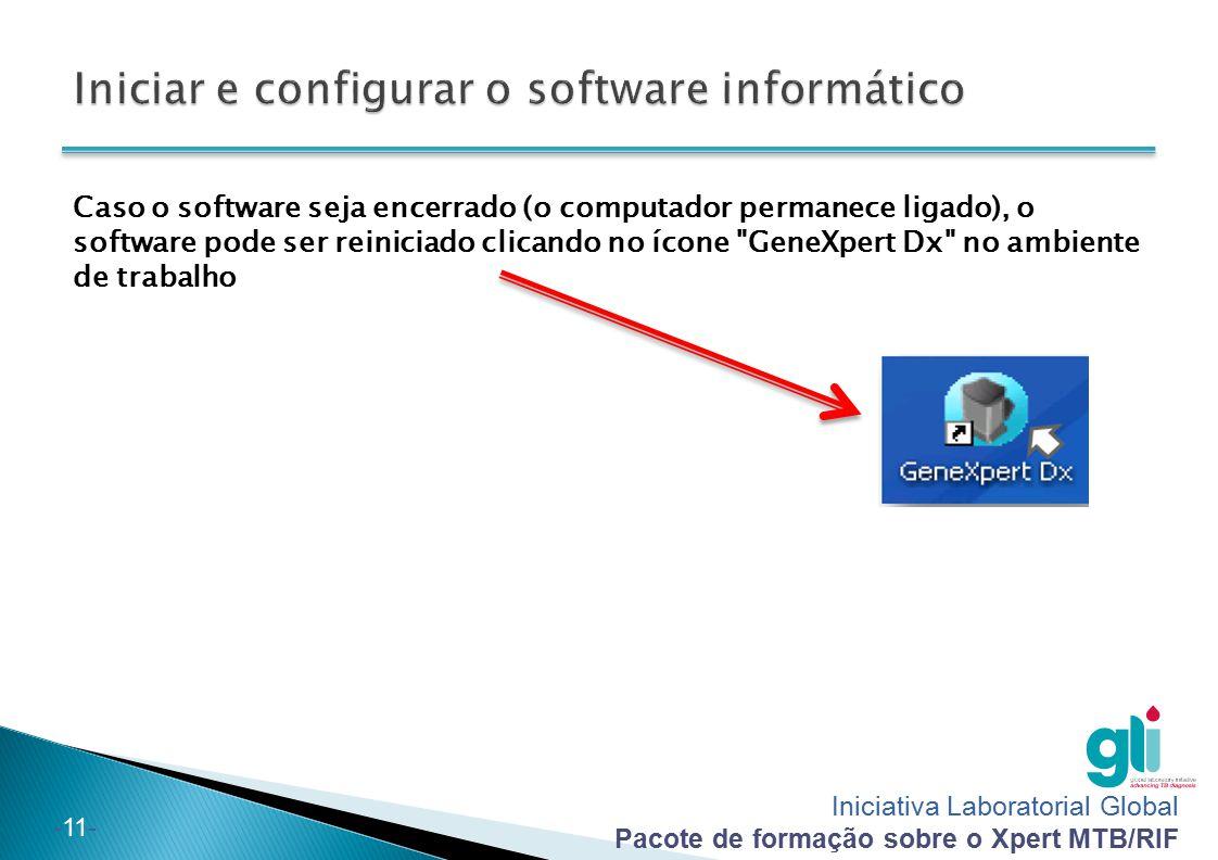 Iniciar e configurar o software informático