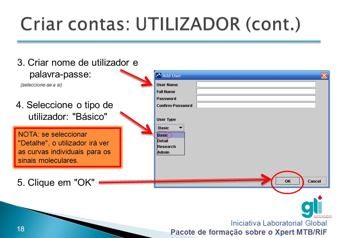 Criar contas: UTILIZADOR (cont.)