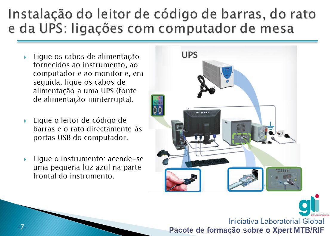 Instalação do leitor de código de barras, do rato e da UPS: ligações com computador de mesa