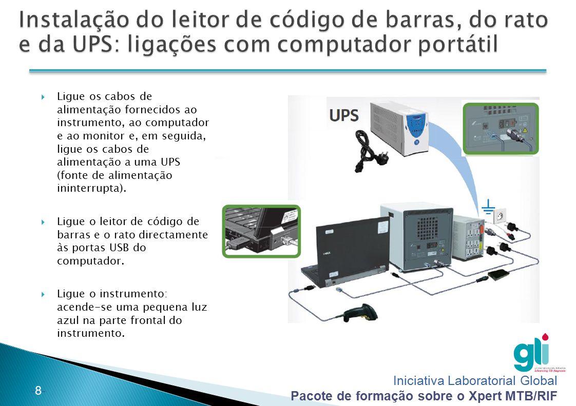 Instalação do leitor de código de barras, do rato e da UPS: ligações com computador portátil